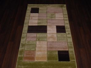 Modern New Rugs Approx 5x2ft6 80x150cm Woven best quality ,Blocks Green/Brown